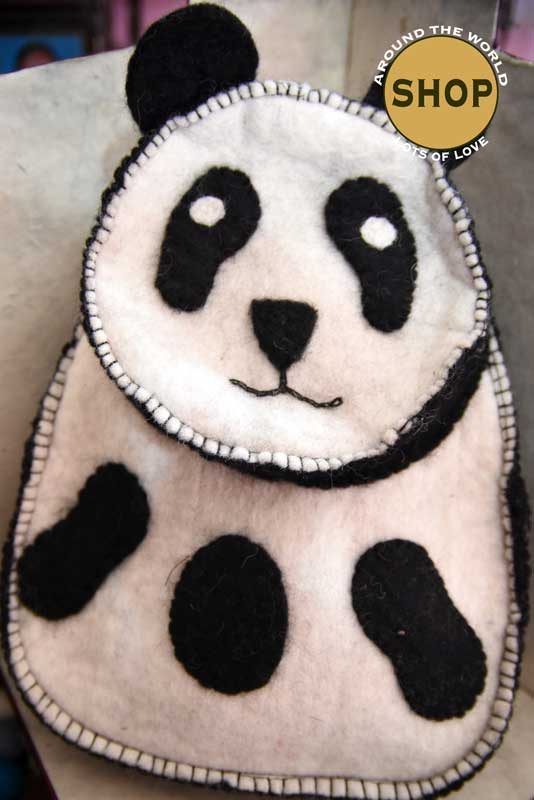 Handgemaakt vilt kinder Rugzak Panda 5357. Speelgoed, tas.