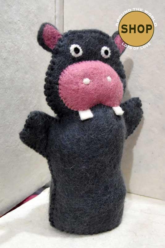 Handgemaakt vilt handpop nijlpaard 5392 Speelgoed, dieren. Shop Around the World