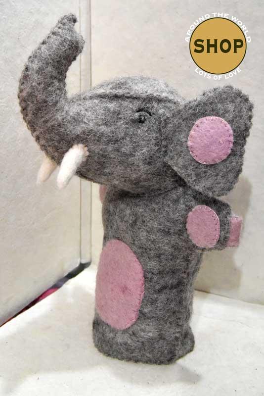 Handgemaakt vilt handpop olifant 5394 Speelgoed, dieren. Shop Around the World