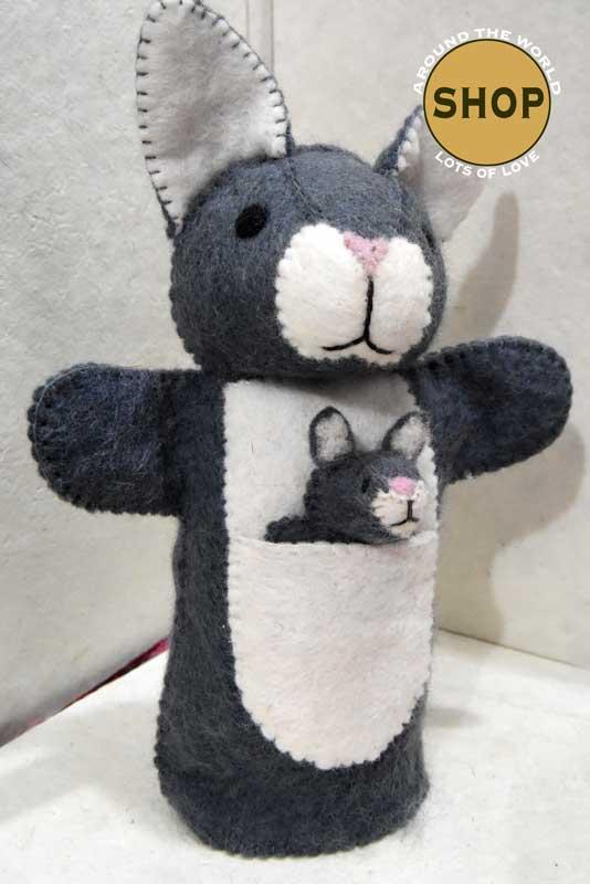 Handgemaakt vilt handpop grijs konijn 5397 Speelgoed, dieren. Shop Around the World