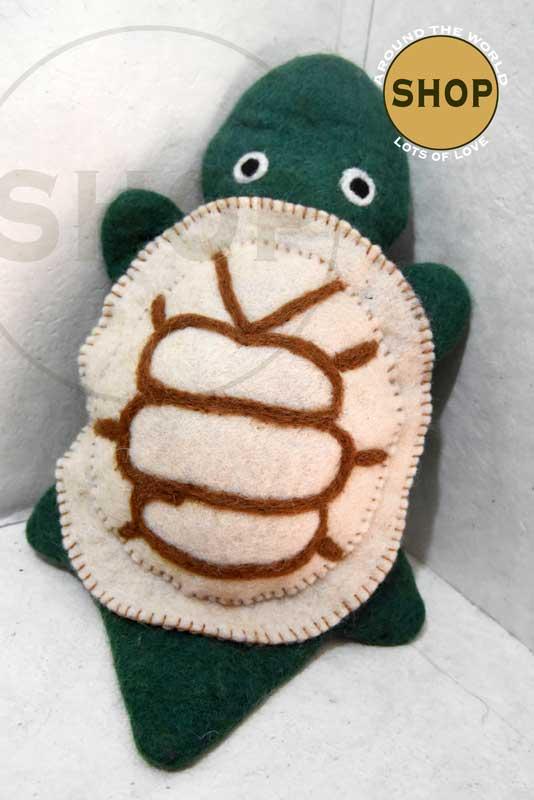 Handgemaakt vilt handpop schildpad 5404 Speelgoed, dieren. Shop Around the World